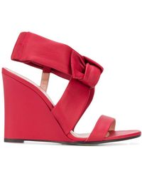 Pollini Bow Wedge Heel Sandals - Red