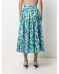Gianluca Capannolo High-rise Floral-print Tiered Midi Skirt - Blue