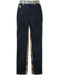Dolce & Gabbana Embellished Floral Jacquard Jeans - Blue