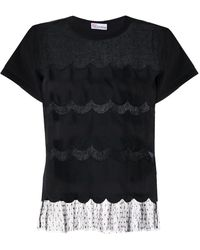 RED Valentino Point D'esprit Scalloped T-shirt - Black