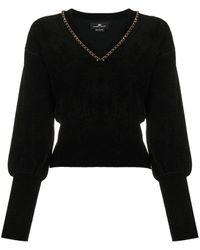 Elisabetta Franchi バルーンスリーブ セーター - ブラック