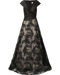 Jovani Floral-embroidered Skirt Gown - Black