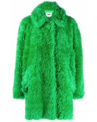 MSGM Oversized Faux-fur Coat - Green