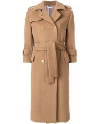 Thom Browne Camel Hair Double-breasted Trench Coat - Natural