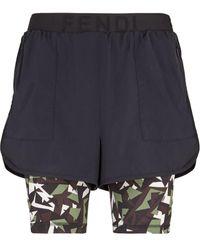Fendi Shorts running Bag Bugs con stampa camouflage - Nero