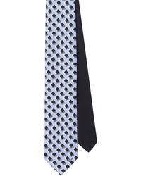 Prada Geometric-print Silk Tie - Blue