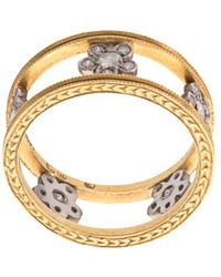 Cathy Waterman 22kt Gold Double Milgrain Floating Flowers Ring - Metallic