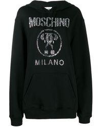 Moschino Sudadera con detalle de cristal y logo - Negro