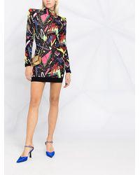 Balmain Платье Вязки Интарсия С Абстрактным Узором - Черный