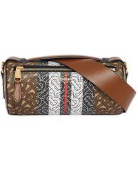 Burberry - The Monogram Stripe E-canvas Barrel Bag - Lyst