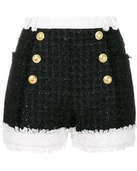 Balmain - Tweed Double Breasted Shorts - Lyst