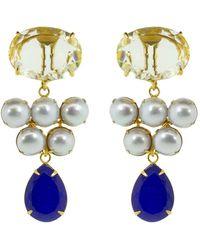 Bounkit Boucles d'oreilles pendantes plaquées en or 14ct à ornements en quartz jaune - Multicolore