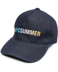 A.P.C. Summer ロゴ キャップ - ブルー