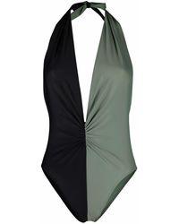 Amen Two-tone Design Swimsuit - Green