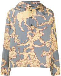 Ferragamo Classical-print Hooded Jacket - Grey