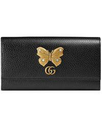 Gucci Leren Continentale Portemonnee Met Vlinder - Zwart