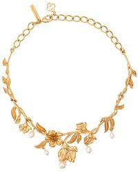 Oscar de la Renta Pearl Flower Necklace - Metallic