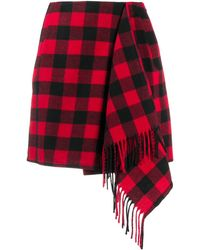 Tommy Hilfiger Check Print Scarf Skirt - Red