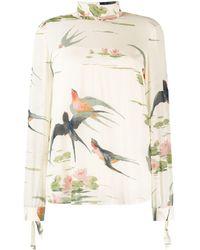RED Valentino Bird Print Blouse - Multicolour