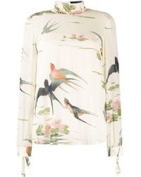 RED Valentino Bird Print Blouse - Multicolour