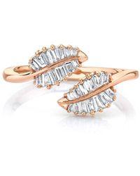 Anita Ko 18kt Rose Gold Small Diamond Palm Leaf Ring - Pink