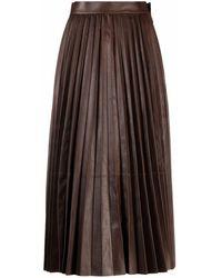 DESA NINETEENSEVENTYTWO Jupe mi-longue plissée en cuir - Marron