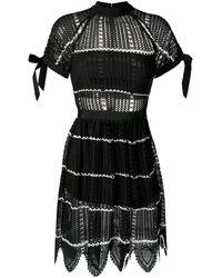 Self-Portrait Mesh Knit Dress - Zwart