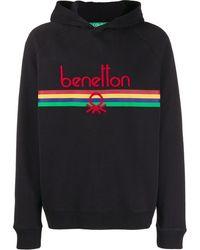 Benetton Logo Embroidered Hoodie - Black