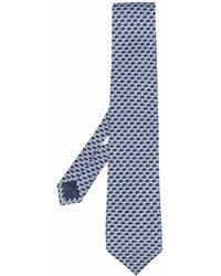 Ferragamo Cravate en soie à motif imprimé - Bleu