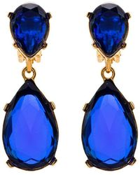 Kenneth Jay Lane Teardrop Clip On Earrings - Blue