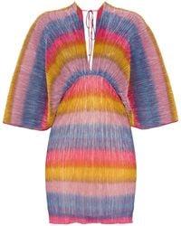 ROTATE BIRGER CHRISTENSEN Плиссированное Платье Мини В Полоску - Многоцветный
