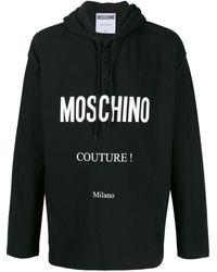Moschino Logo Print Hoodie - Black
