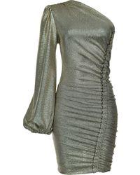 Pinko Платье На Одно Плечо С Эффектом Металлик - Серый