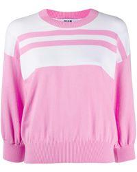 MSGM Block stripe knit jumper - Pink
