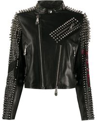 Philipp Plein Kiss-print Spike-stud Biker Jacket - Black