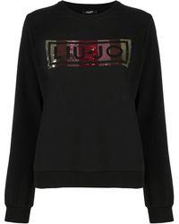 Liu Jo Sweatshirt mit Pailletten - Schwarz
