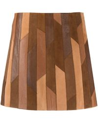 FRAME Geometric-patchwork Mini Skirt - Brown