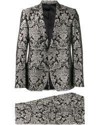 Dolce & Gabbana Jacquard-Anzug mit Blumen - Schwarz