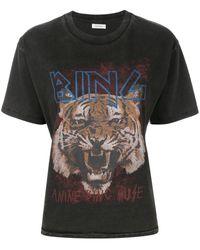 Anine Bing プリントtシャツ - ブラック