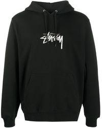 Stussy Logo Print Hoodie - Black