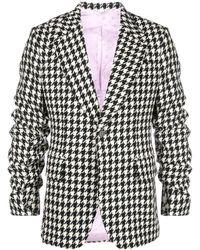 Gucci Houndstooth ruched-sleeve blazer - Nero
