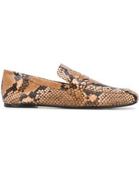 JOSEPH Snakeskin-effect Loafers - Brown