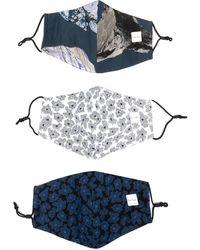 Paul Smith Set di 3 mascherine con stampa astratta - Blu
