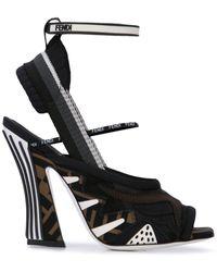 Fendi Mesh Wrap Heeled Sandals - Black