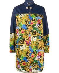 Versace Jeans Couture Western-tip Tropical-print Denim Shirt - Blue