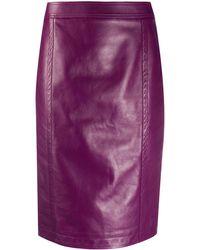 Saint Laurent Юбка-карандаш С Завышенной Талией - Пурпурный