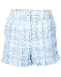Edward Achour Paris Fitted Tweed Shorts - Blue