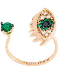 Delfina Delettrez Eyes On Me Piercing ダイヤモンド&エメラルドリング - グリーン