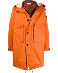 Stone Island Shearling Lined Parka Coat - Orange
