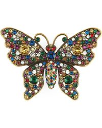 Gucci Crystal Studded Butterfly Brooch - Metallic